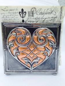 Elitia Hart Metal Art Pewter Napkin Holder Copper Inlay www.pewterart.ca