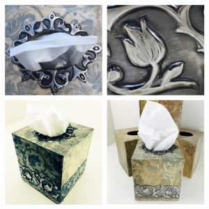 Pewter Tissue Box Holder