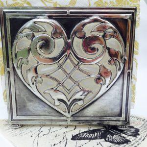 Pewter napkin holder Elitia Hart Metal Art www.pewterart.ca