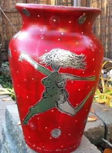 Stencil Vase Red