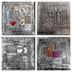 Student Pewter Plaques Introduction to Metal Embossing Workshop