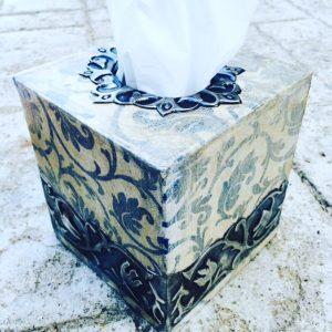 pewter tissue box blue www.pewterart.ca